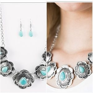 TOO MANY CHIEFS TURQUOISE NECKLACE/EARRING SET